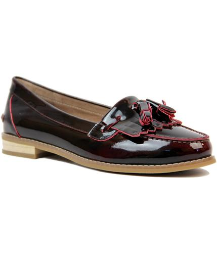 LACEYS CASSIDY TASSLE 1960s MOD LOAFER SHOES RED