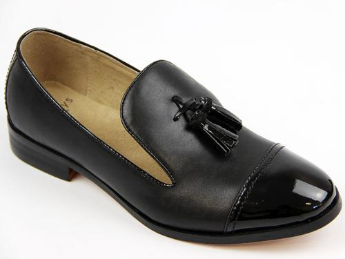 LACEYS WOMENS RETRO MOD TASSEL LOAFERS BLACK