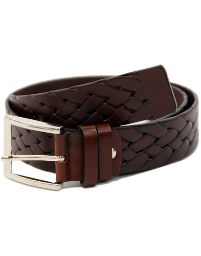 LACUZZO Retro Mod Woven Stamp Leather Belt BROWN