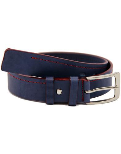 LACUZZO Retro Mod Red Stitch Leather Belt (NAVY)