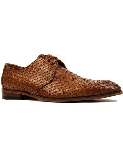 lacuzzo retro mod mens basket weave derby shoes
