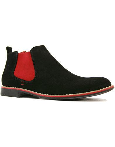 lacuzzo retro 1960s mod suede chelsea boots black