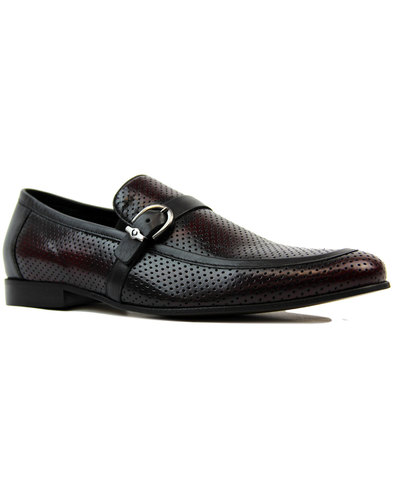 lacuzzo retro 60s mod perf leather loafers claret