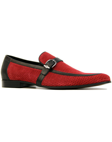 lacuzzo lane retro mod perf suede loafers in red