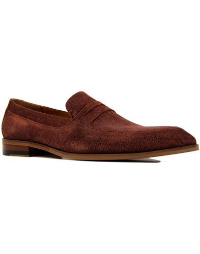 LACUZZO Retro Mod Two Tone Textured Suede Loafers