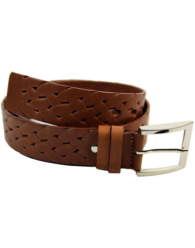 lacuzzo retro 60s mod woven stamp leather belt tan