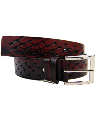 lacuzzo retro mod woven stamp leather belt wine