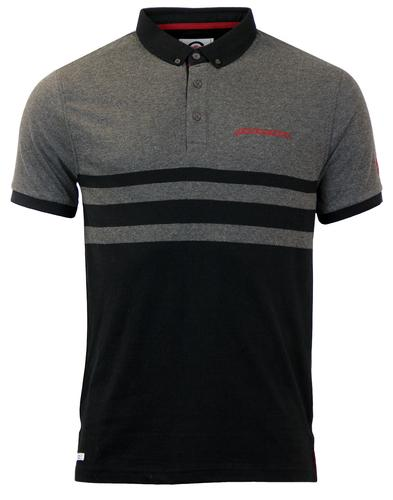 LAMBRETTA RETRO MOD STRIPE PANEL POLO SHIRT GREY