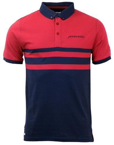 LAMBRETTA RETRO MOD STRIPE PANEL POLO SHIRT RED