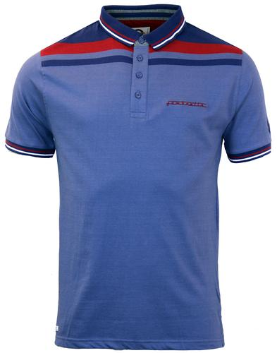 LAMBRETTA RETRO MOD SHOULDER STRIPE POLO DENIM