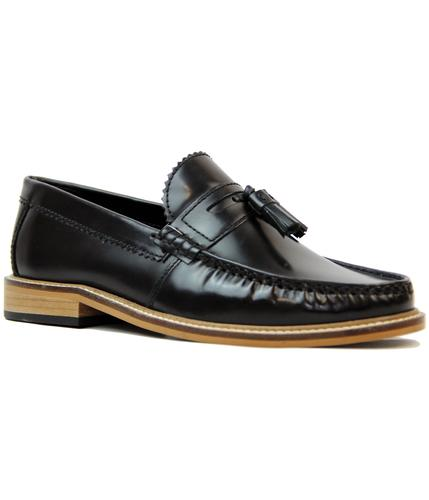 LAMBRETTA RETRO MOD LEATHER TASSEL LOAFERS BLACK