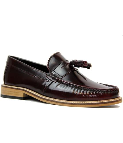 LAMBRETTA RETRO MOD LEATHER TASSEL LOAFERS BORDO