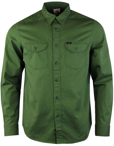 lee mens retro 60s mod military green worker shirt