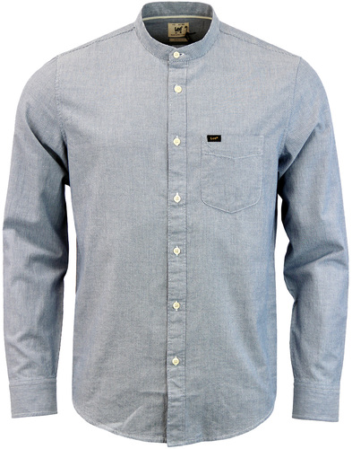 LEE Retro Band Collar Pinstripe Grandad Shirt BLUE
