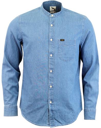 LEE Retro 60s Band Collar Denim Grandad Shirt