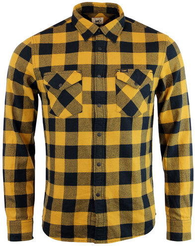lee retro mod block check western shirt mustard