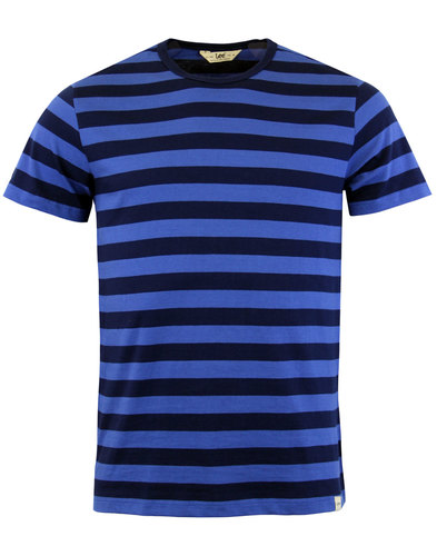 lee mens retro mod bold stripe tee workwear blue
