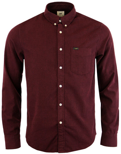 lee retro mod brushed cotton oxford shirt maroon