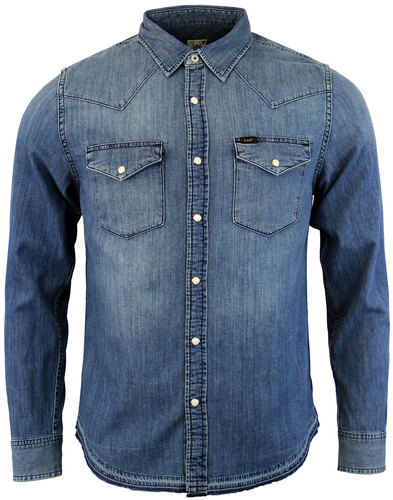 lee mens retro 70s denim western shirt deep sea