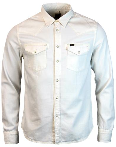 lee jeans retro 70s mod white denim western shirt