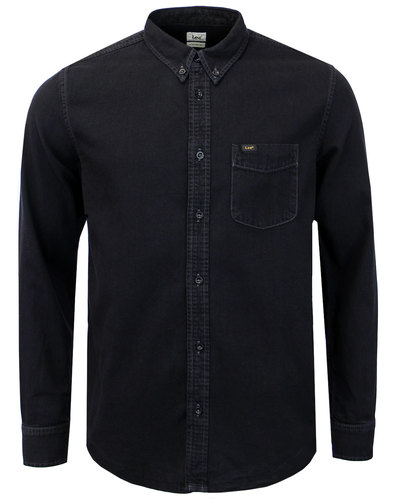 LEE Men's Retro Mod Denim Button Down Shirt BLACK