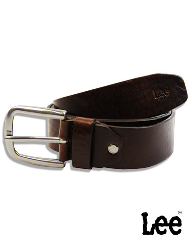 LEE Men's Brown Leather Belt with Silver Buckle
