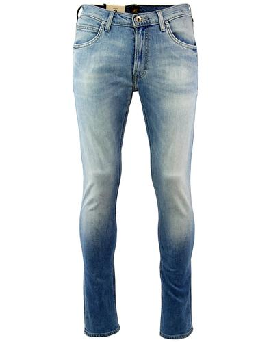 lee luke retro 1970s slim tapered beach blue jeans