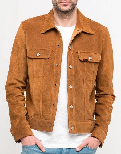 LEE Suede Rider Retro Mod Western Snap Jacket RUST