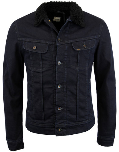 lee sherpa rider retro mod denim jacket dark prime