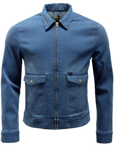 lee retro mod 1970s zip through denim jacket blue