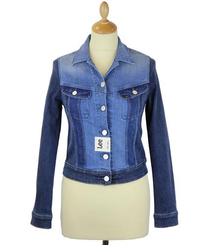 LEE JEANS WOMENS MIXED DENIM JACKET SLIM RIDER