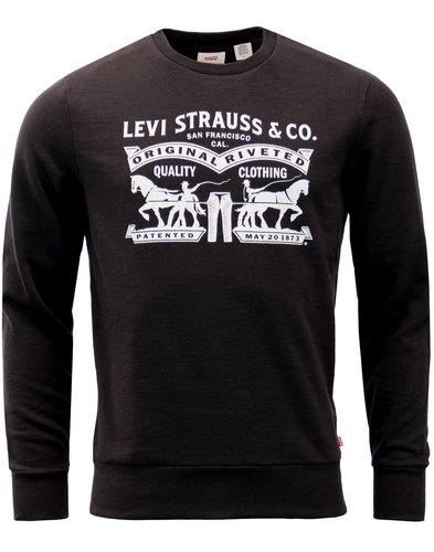 levis 2 horse retro 1970s crew sweatshirt black