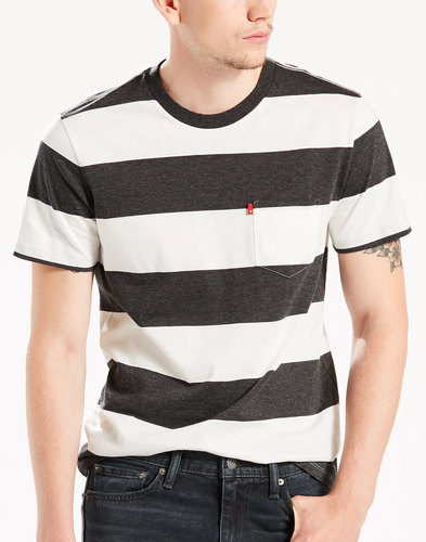 LEVI'S® Retro Block Stripe Sunset Pocket Tee BLACK