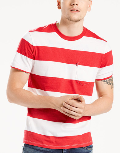 LEVI'S® Retro Block Stripe Sunset Pocket Tee RED