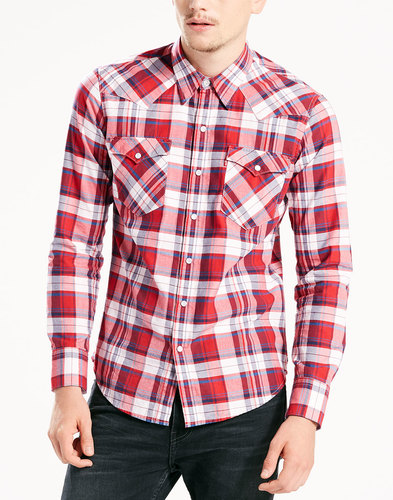levis barstow retro 70s check western shirt cherry