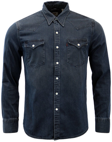 levis barstow retro mod denim western shirt smokey