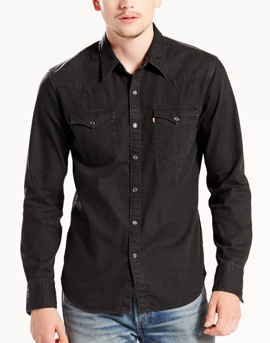 levis barstow retro mod denim western shirt black