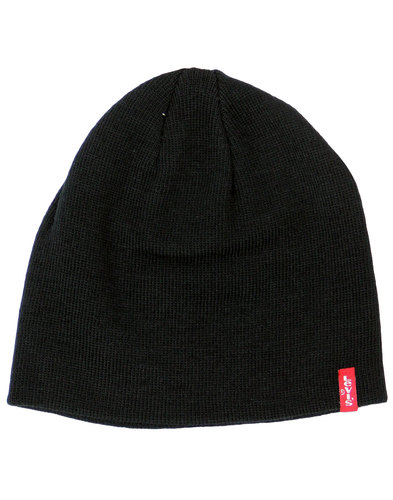 levis retro 1970s indie knitted beanie hat black