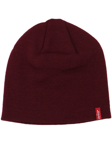 levis retro 1970s indie knitted beanie hat bordo