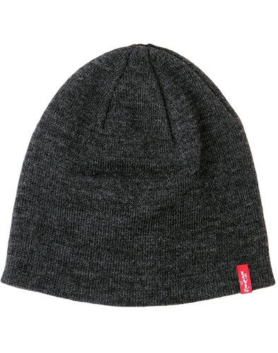 levis retro 1970s indie knitted beanie hat grey
