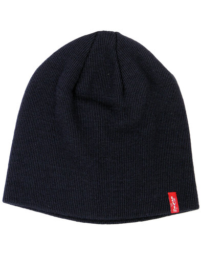 levis retro 1970s indie knitted beanie hat navy