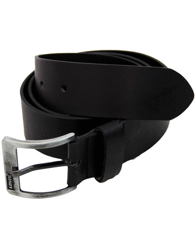 LEVI'S® Retro Gunmetal Buckle Black Leather Belt