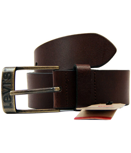 levis duncan retro 70s mod logo buckle belt brown