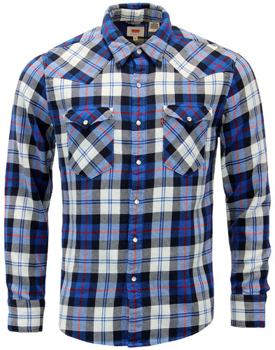 levis barstow retro mod plaid check western shirt