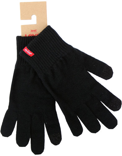 levis retro indie knitted touchscreen gloves black