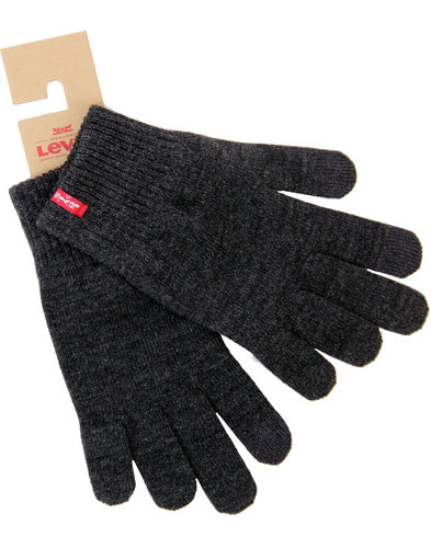 levis retro indie knitted touchscreen gloves grey