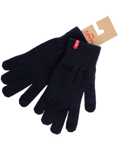 levis retro indie knitted touchscreen gloves navy