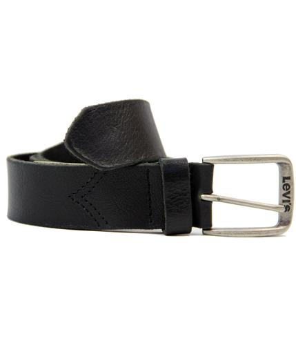LEVIS RETRO MOD CHEVRON STITCH LEATHER BELT BLACK
