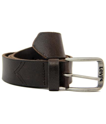 LEVIS RETRO MOD CHEVRON STITCH LEATHER BELT BROWN