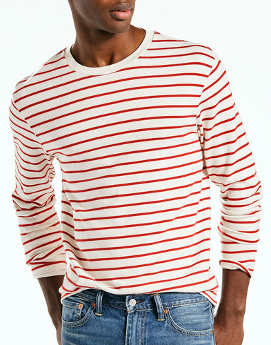 levis mens retro mod ls mission striped tee white
